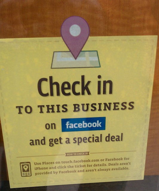 A Facebook deals sticker at Boyd's Coffee