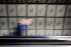 Disorientation (digitalesse) Tags: motion blur london underground movement energy candid escalator tube motionblur 20mm disorientation gf1