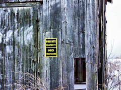 Private Property (gabi-h) Tags: winter snow ontario grass barn alone princeedwardcounty barnboard gabih