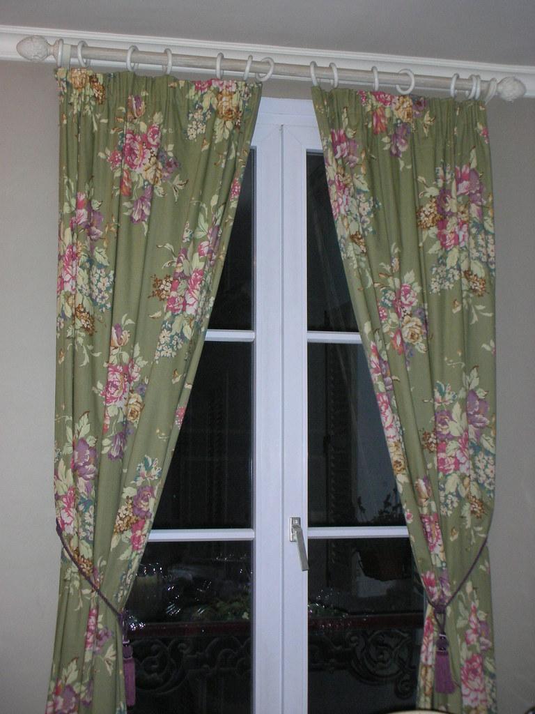 Floral Print draperies, hardware and tiebacks