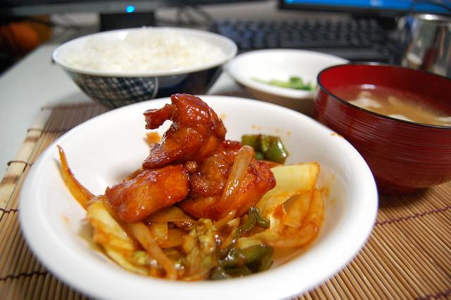 鶏むね肉の唐揚げを甘酢ケチャップで炒めました!美味しいよ! #jisui
