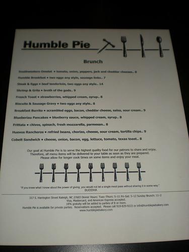 Humble Pie menu