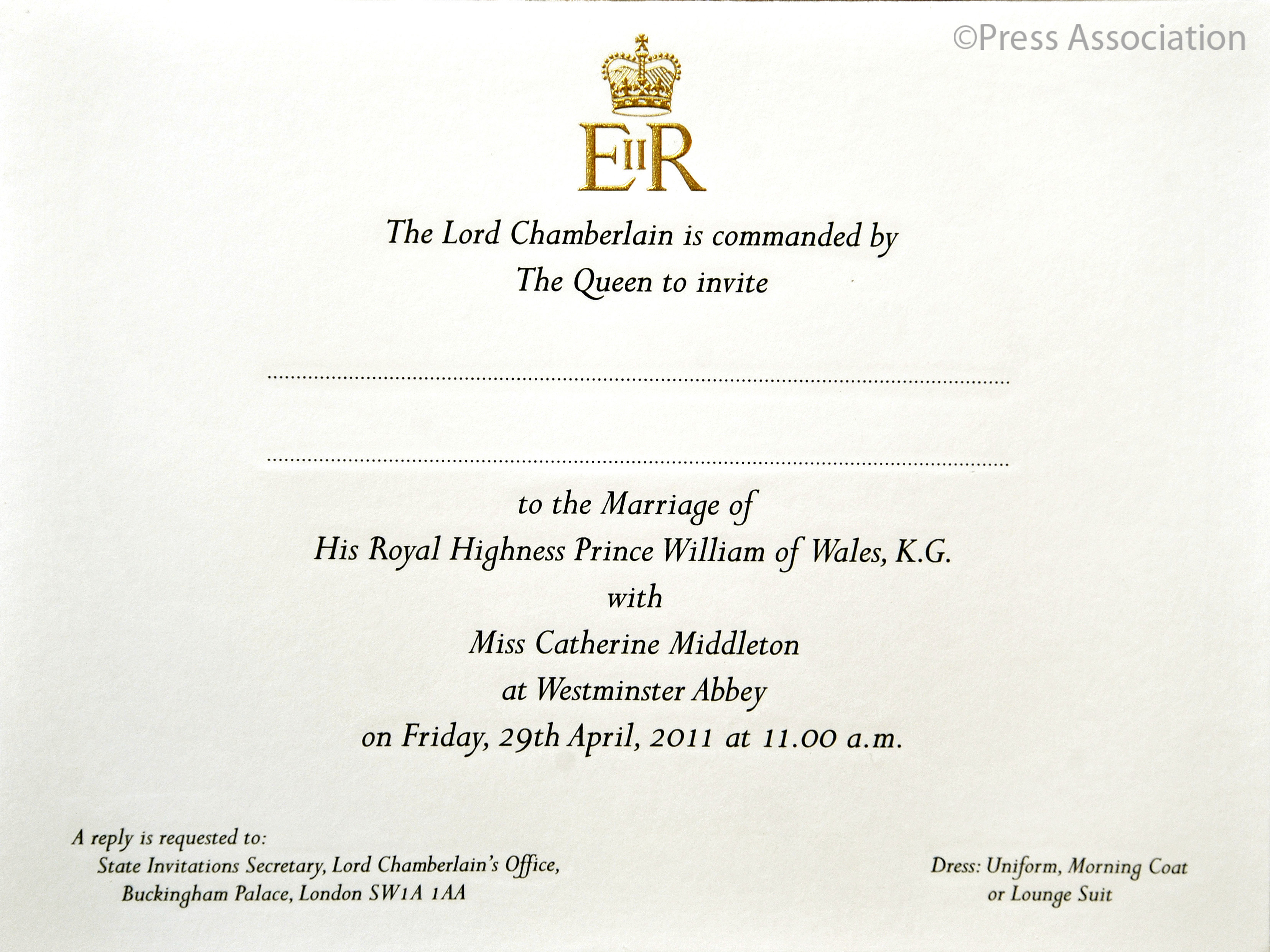 crave for it done for it the royal wedding  royal wedding invitation one of the invitation cards to the wedding of prince william and miss catherine middleton before being posted to the guests who