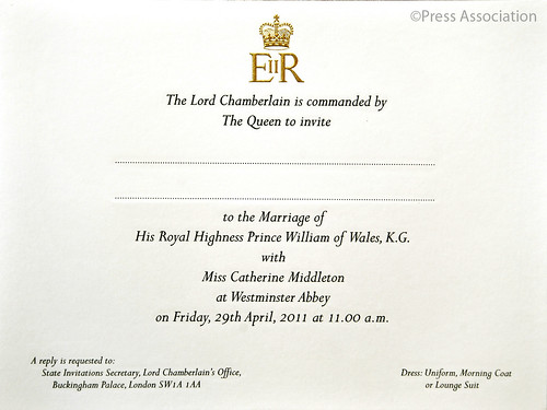 royal wedding prince william invitation. Royal Wedding Invitation
