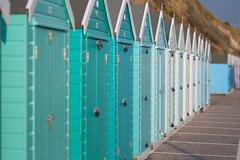 Brightly coloured beach huts on Bournemouth beach (DamianRees) Tags: green beach colours bright promenade chalet minty bournemouth beachhuts mintgreen canonef85mmf18