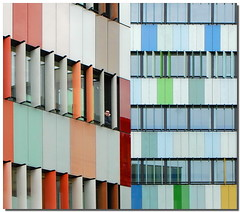 Looks on the colors (Nespyxel) Tags: windows man milan colors lines architecture modern alone view pov milano pointofview solo looks colori architettura moderno stefano finestre geometrie appeared linee geometries affacciato nespyxel stefanoscarselli arlequinbuilding