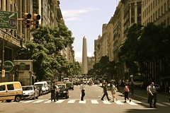 Buenos Aires Centre (Alex E. Proimos) Tags: road street city people argentina walking calle downtown tour buenos aires taxi south abby country daily spanish cover american latin obelisk government beatles developed better thebeatles developing proimos