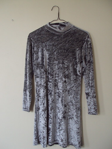 Silver Crushed Velvet Dress