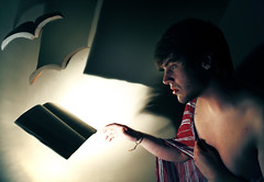 Where the Books Go (Casey David) Tags: bear blue light shadow red shirtless brown bird birds yellow wall project reading book fly flying 3d hands long shadows dof hand rice wizard robe stripes bare profile alabama flight perspective harry potter harrypotter damien floating halo books lips days read ear bones stare walls 365 shoulders collar float delicate grab shoulder pajamas hold longing profil flee collarbone damienrice grasp cotcmostinteresting project365 365days floatingbooks bookbirds theteleidoscope