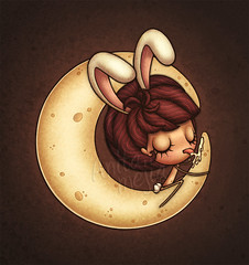 Back in your head (Anita Mejia) Tags: moon bunny illustration ensenada ilustracion bunnygirl lickme chocolatita anitamejia mexicanillustrator