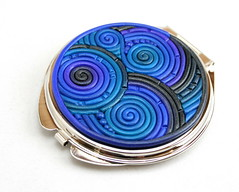 Blue and Charcoal Compact Mirror (Starless Clay) Tags: blue silver spiral mirror handmade metallic teal indigo polymerclay fimo charcoal sculpey swirl accessories compact accessory filigree premo starlessclay amberelledge