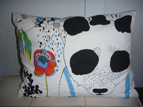 Pillow made from Marimekko dishtowels