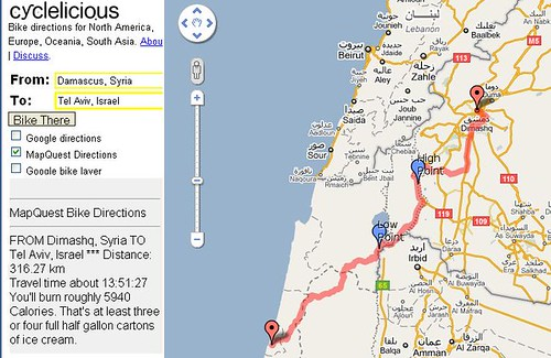 Bike directions: Damascus to Tel Aviv