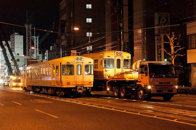 伊予鉄道700系 モハ711廃車陸送 モハ722廃車搬出回送