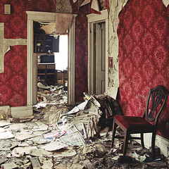 (yyellowbird) Tags: red wallpaper house abandoned square illinois chair newspapers victorian malta velvet