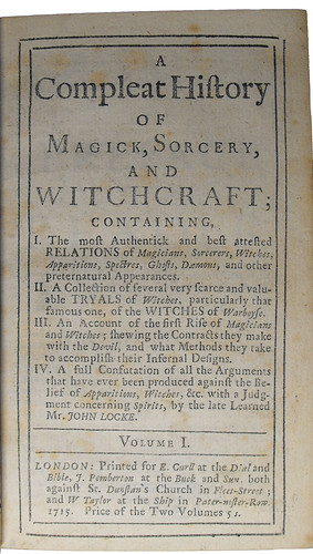 Title page of A compleat history of magick, sorcery, and witchcraft