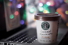 Crazy In Love .....       Explore  (SaRa Meow  .. / @sosoMeow) Tags: apple coffee colors mac keyboard bokeh caramel starbucks icecream caramelmacchiato sarameow