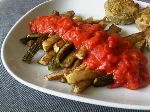 Garam masala zucchini fries + tomato sauce