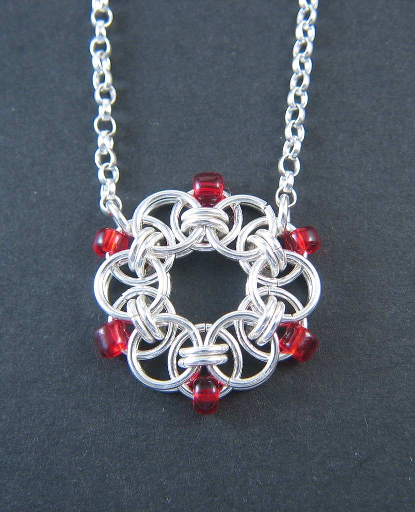 Sterling silver helm chain pendant with red beads and belcher chain