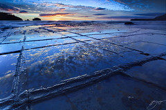 Blue (hillsee) Tags: seascape water clouds sunrise reflections rocks tasmania tessellatedpavement tasmanpeninsular nikond700