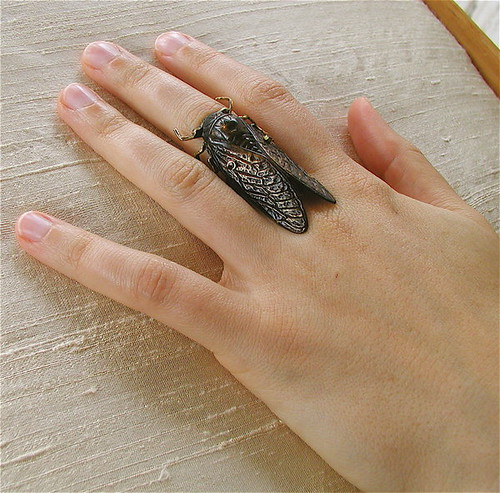 Black Cicada Cocktail Ring