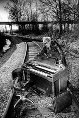 Railroad Tracks and an Organ - Norman 2054 (JLPhotoArt - Jeremy Lindstrom) Tags: ca musician music canada vintage keyboard bc surrealism traintracks surreal oldman retro newwestminster unplugged railroadtracks lowreyorgan