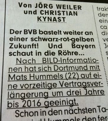 Anfang des BILD-Berichts über Mats Hummels