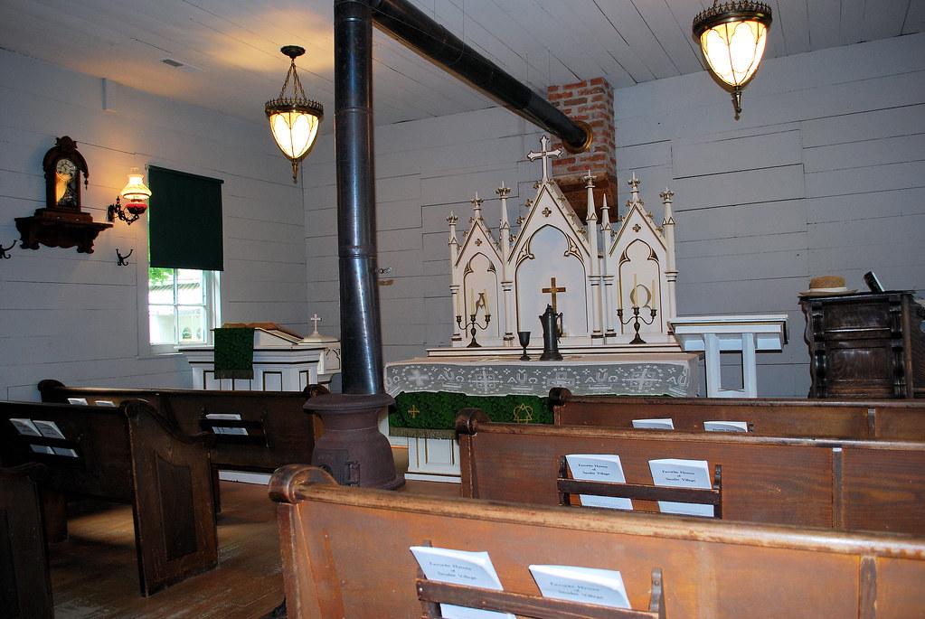 Sauder Village -- church interior