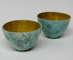 blue bowls (diana fayt) Tags: sanfrancisco flowers roses etched ceramic handmade oneofakind pottery bowls stoneware 2011 dianafayt