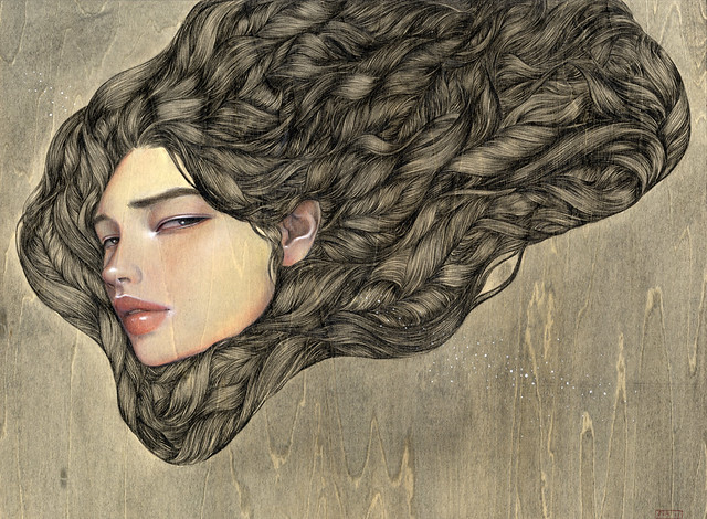 "Everything Was Beautiful. 16"" x 12"".  Acrylic & Colored Pencil on Wood. © 2011"