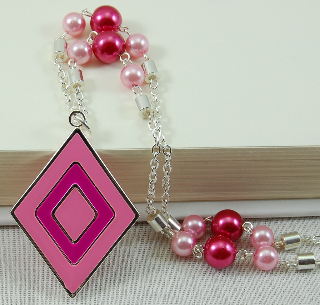 Pink Diamond Necklace with Pearls and Silver Chain