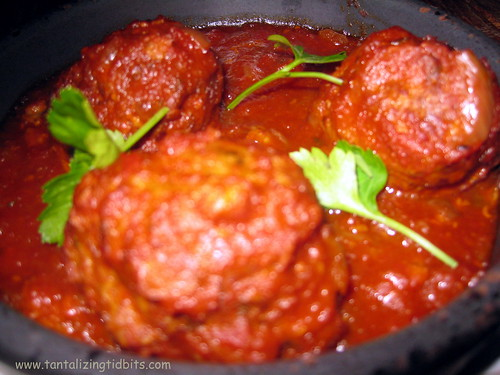 abondigas pork and jamon meatballs in tomato sherry sauce