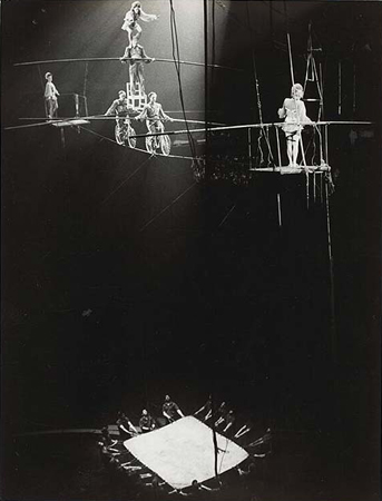 Lisette Model, Circus, New York, Bike on Tightrope, 1945