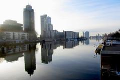 Reflection II (Bart Kok) Tags: reflection amsterdam amstel gracht spiegeling rembrandttoren omval woonboot mondriaantoren kantoortorens