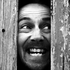 Here's Tommy! (Tom Gradwell) Tags: door man film jack mono comedy icon horror spoof nicholson iconic shining