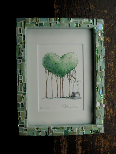 Bunny Topiary Print by Michelle Masters with a frame by Margaret Almon