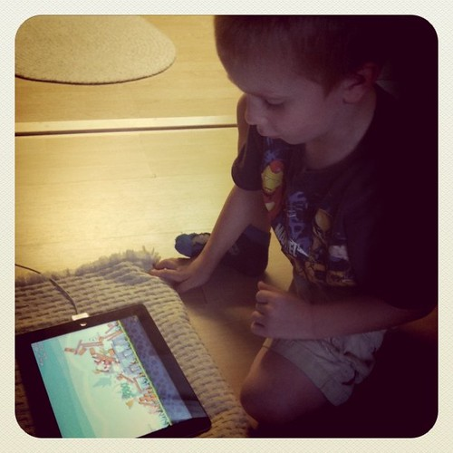 Obsessed with the iPad and Angry Birds. And today I don't care how much he plays it. #lazymomday