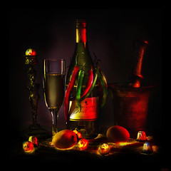 Easter Chardonnay Halloween (a.Kry) Tags: longexposure red stilllife black art halloween yellow square wine 11 squareformat 7d eggs canondslr canoneos naturemorte chilipepper     lightbrush longexpo    stilllifeart      akryphotoart canoneof7d specifictothiscatalog  hardonnay