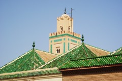 Ben Youseff Mosque (jcm715) Tags: old city travel roof urban colour detail building brick green wall architecture town ancient northafrica minaret muslim islam traditional decoration mosque morocco tiles maroc marrakech tradition majid islamic tiling calltoprayer youseff