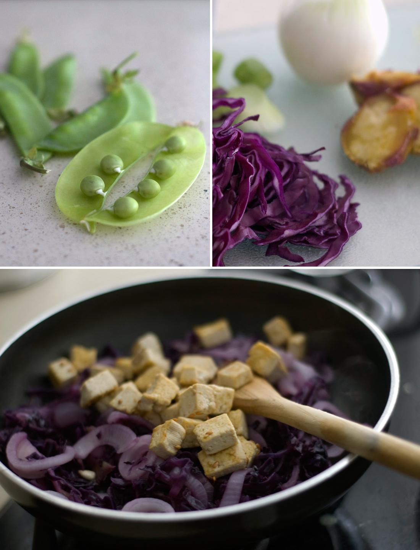 Salteado de tofu, couve roxa e ervilhas tortas