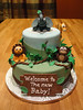 Baby Jungle Cake for Tiffany 5 (MamaWaCakes) Tags: blue elephant green monkey chocolate lion vanilla giraffe babyshower fondant gumpaste babyanimals jungletheme customcake safaritheme stackedcake sugarfigurines sugarmodel