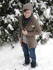Winter Solstice in the Snow (get.wise) Tags: winter brown wool sweater handknit modular knitted cardigan summersolstice rowanpurelife heidikirrmaier brownbfl
