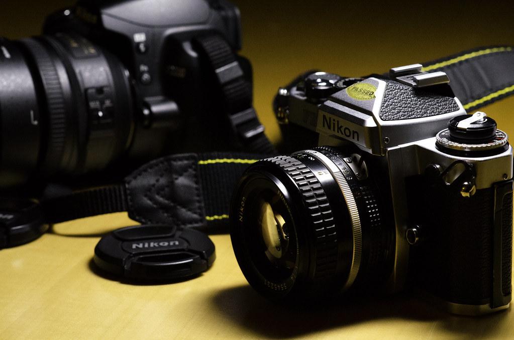 D3000 and Nikon FE2
