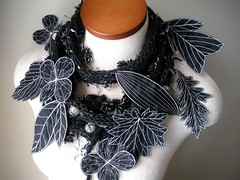 Long and Leafy Scarf with Embroidered Leaves- Tweedy Black with Ivory Berries (Betsie Withey) Tags: flowers blackandwhite white motion black art leaves mi scarf leaf women knitting embroidery michigan unique crochet free vine folklore elf fantasy jungle accessories organic etsy wearable fiberart embroidered saugatuck botanicals donegaltweed silkdupioni artscarf embroideredleaf