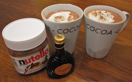 Nutella hot chocolate (plus Godiva liqueur)