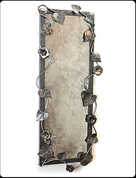 Morning Glory Steel Rectangular Mirror