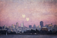 Where We Left Our Hearts (Melanie Alexandra Photography) Tags: sanfrancisco california city pink sunset texture skyline architecture sailboat hearts palaceoffinearts