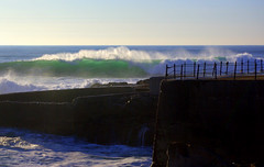 Waves on aproach (Mario 2R's) Tags: light sea sky green portugal stone wall fence cabo wind wave foam cape guincho raso
