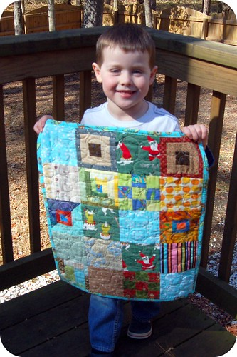 Sean & his mini quilt
