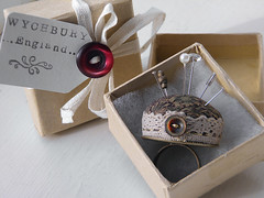 Pincushion Ring Boxed (Wychbury Designs) Tags: uk vintage wrapping box handmade lace packing wrapped ring fabric button packaging pincushion etsy folksy wychbury